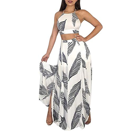 (Womens 2 Piece Outfits Summer Floral Beach Crop and Side Slit Skirt Sexy Crop Top Maxi Skirt Set Bandage Club Dresses White)