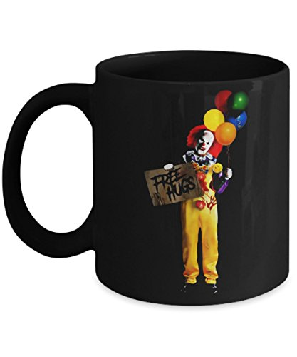 Novaon Store FREE HUGS, Evil Killer Crazy Creepy Clown Halloween - Happy Halloween Day Coffee Mugs Gift Coffee Cup - Halloween Great Gifts for Men, Women, Kids, Mo