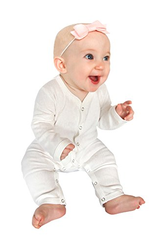 Price comparison product image Owlivia Baby Organic Cotton 1 Piece Footless Snap-Up Long Sleeve Romper Pajama Snug Fit Sleepwear (6-12 Months,  White)