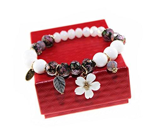 e Stone & Colored Glaze Charm Bracelet with Peach Blossom Pendant for Women and Girls (Black) (Colored Stone Bracelet)