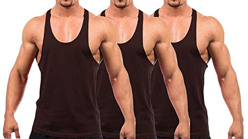 YAKER Men's Blank Stringer Y Back Bodybuilding Gym Tank Tops (S, 3Pcs-Coffee)
