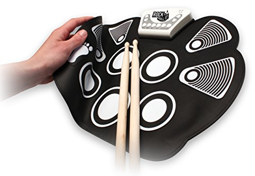 MukikiM Rock And Roll It - Drum. Flexible, Completely Portable, battery OR USB powered, 2 Drum Sticks + Bass Drum & Hi hat pedal included! ()