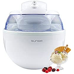 Sunsir Home Mini Automatic Ice Cream, Frozen Yogurt and Sorbet Dessert Maker Machine for DIY Fun, Customize Your Own Flavor 3/5-Quart/0.6L, White