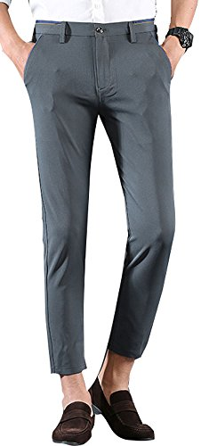 Plaid&Plain Men's Stretch Skinny Fit Casual Business Pants 8618 Ankle Dress Pants 8618 Grey 27