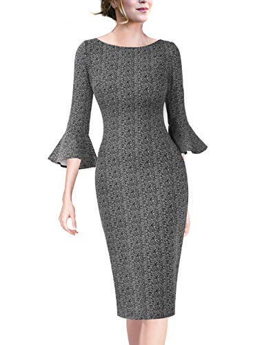 - VFSHOW Womens Ruffle Bell Sleeves Zig Zag Print Cocktail Party Sheath Dress 1920 BLK XS