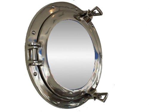 """Hampton Nautical  Deluxe Class Chrome Porthole Mirror, 15"""", Chrome"""