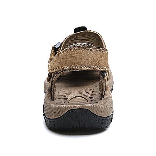 Hombre Plano Zapatillas Aire al Cerrado LLPSH by Playa Casual Verano Zapatos Cinturón de Sandalias Khaki Ajustable Deportes Suave Pescador Atlético Libre 5w4x7