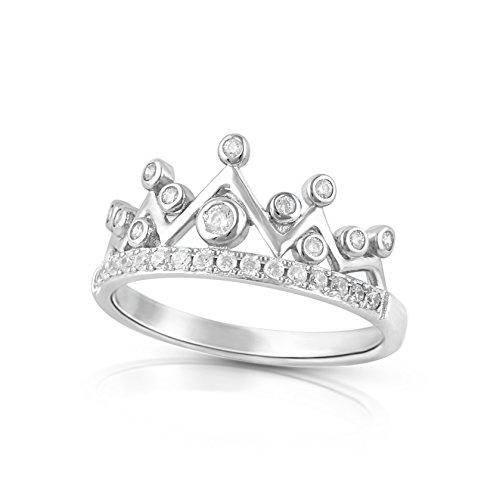 Sterling Silver Simulated Diamond Princess Crown Ring - Size 10
