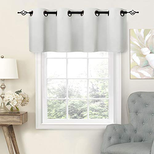 White Valances Bathroom Windows 16 inch Curtain Valance Kitchen Window Grommet Bedroom Valance Curtains Living ()