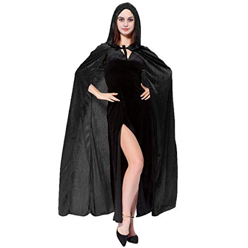 Halloween Hooded Cloak Black Red Reversible Witch Cloak