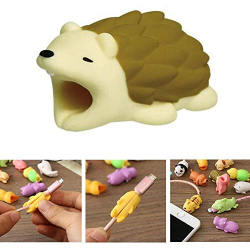 (DECVO Cable Protector for iPhone iPad Cable Android Samsung Galaxy Cord Plastic Cute Land Animals Phone Accessory Protects USB Charger Data Protection Cover Chewers Earphone Cable Bite (Hedgehog))