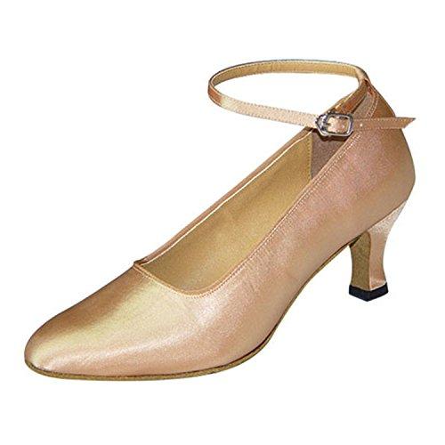 YFF Geschenk Frauen tanzen Schuhe Ballroom Latin Dance tango Tanzschuhe 6CM Apricot color