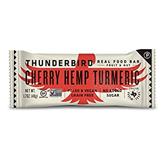Thunderbird Paleo and Vegan Snacks - Real Food Energy Bars - Fruit & Nut Nutrition Bars - No Added Sugar, Grain and Gluten Free, Non-GMO, 15 Pack (Cherry Hemp Turmeric)