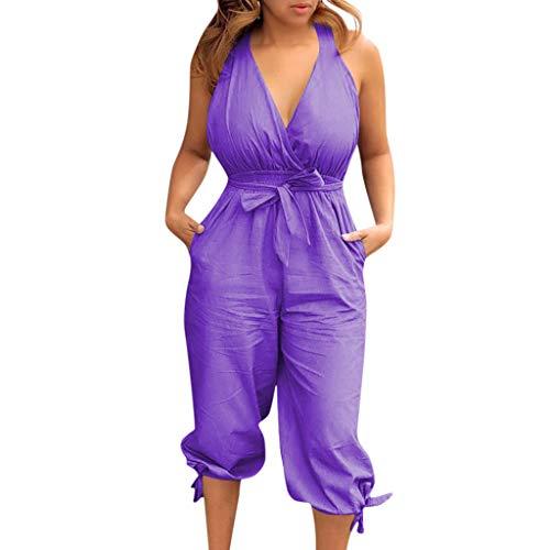 LONGDAY Women Summer Jumpsuit Short Romper Halter V-Neck Tank Top Casual Baggy Pants Harem Plus Size Bodysuit Belted Purple