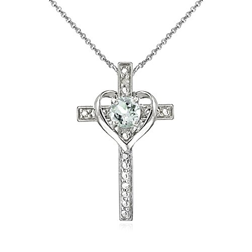 - Sterling Silver Light Aquamarine Cross Heart Pendant Necklace for Girls, Teens or Women