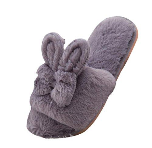 Pantofole Da Donna Cattior Furry Pantofole Da Coniglio Grigio