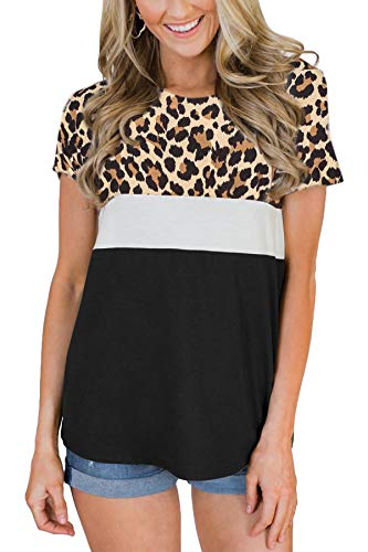 Womens Casual Triple Color Block Short Sleeve T Shirt Round Neck Cotton Summer Tops Black Leopard XL