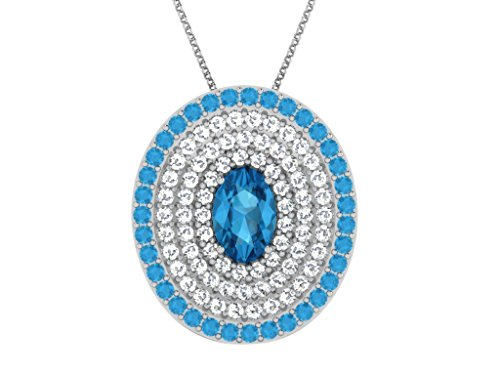 Libertini pendentif argent 925 femme serti de Diamant et Topaze