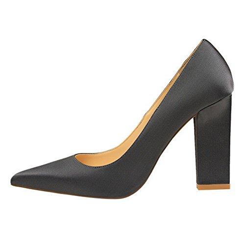 Odomolor grises de Punta estrecha de Zapatillas altos tiro AmagooTer Tacones Combinación para mujeres Zapatos materiales RRHZSqw