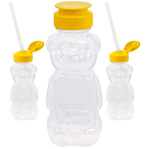 Honey Bear Straw Cups Juice Sippy Special Needs Therapy Bottle Teaching