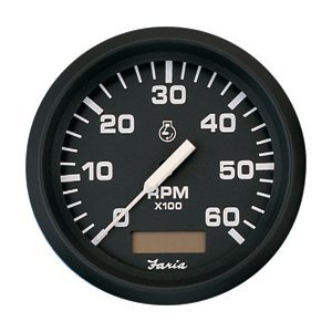 Faria Beede Instruments 32832 4 in. Euro Black Tachometer with Hourmeter - 6,000 RPM Gas, - Tachometer Faria Marine