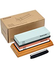 Donxote Knife Sharpening Stone, 400/1000 3000/8000 Double Side Grit Waterstone, Professional Chef Whetstone Sharpener, Nonslip Bamboo Base & Angle Guide