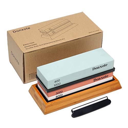 (Donxote Knife Sharpening Stone, 400/1000 3000/8000 Double Side Grit Waterstone, Professional Chef Whetstone Sharpener, NonSlip Bamboo Base & Angle Guide)