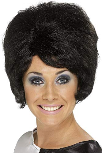 Smiffys Women's 60's Beehive Wig, Short and Black Wig, One Size, 42272 -