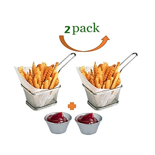 Mini Chips Fry Basket Stainless Steel Fryer Baskets Strainer French Fries Holder,Table Serving Food Presentation Tool With Bonus Sauce Cup (2) ()