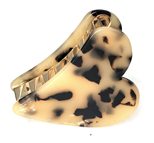 WeWe Faux Tortoise Shell Jaw Clip Leopard Animal Print Hair Pin Preppy Claw Elegant Classic Hair Jewels Urban Mod Trendy Gift For Her (Beige (Leopard Jewel)