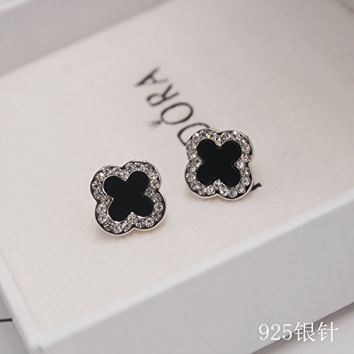 (Korea Shiny Black Onyx Diamond Earrings earings Dangler Eardrop Clover Women Girls Silver pin Women Gift Ideas Platinum Ear Jewelry Tide)