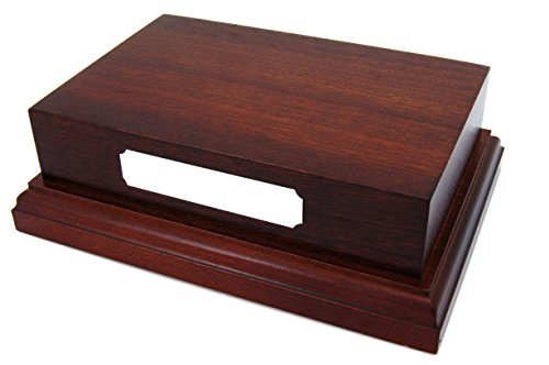 Mahogany Wooden Wood Base Plinth 6x4 Silver Plaque Engraved