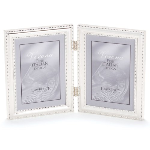 Lawrence Frames 510745D Silver Plated Double Bead Hinged Double Picture Frame, 4 by 5-Inch (Silver Coated Frame)