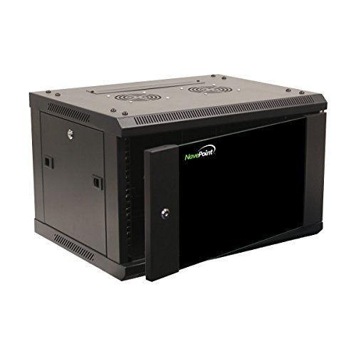 NavePoint 6U Wall Mount Network Server 19 Inch IT Cabinet Rack Enclosure Glass Door Lock