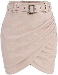 Women's High Waist Suede Mini Skirt Belt Winter Bodycon Wrap Skirt