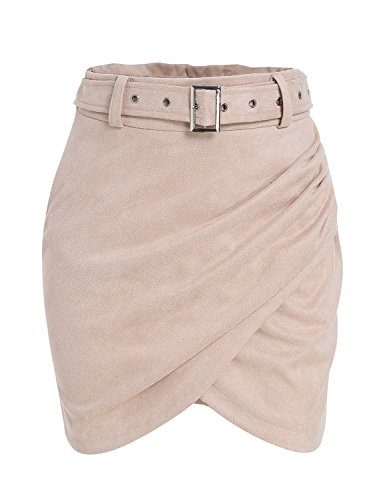 Missy Chilli Women's Autumn Wrap Suede Skirt High Waist Belt Bodycon Mini Skirt Pink 4/6