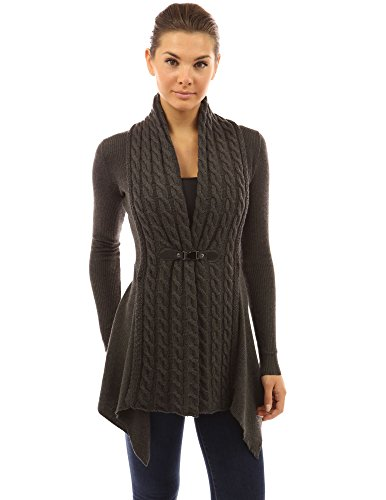 PattyBoutik Women Buckle Braid Front Cardigan (Dark Gray Small) ()