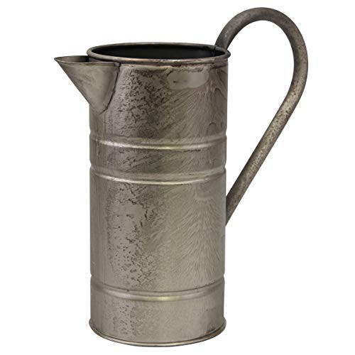 Stonebriar Antique Vintage Silver Metal Drinking Pitcher with Handle, Farmhouse Home Decor Accents ()