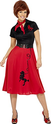 Smiffy's Women's 50's Style Poodle Costume, Dress, Scarf and Belt, Rockin' 50's, Serious Fun, Plus Size 18-20, 30814 (50s Poodle Dress)