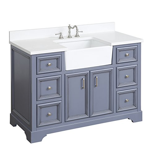 Zelda 48-inch Bathroom Vanity (Quartz/Powder Gray): Includes a Quartz Countertop, Powder Gray Cabinet with Soft Close Doors & Drawers, and White Ceramic Farmhouse Apron Sink (Quartz Bath)