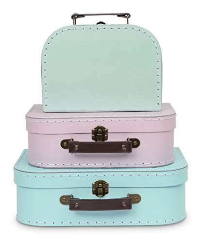 Jewelkeeper Paperboard Suitcases, Set of 3 - Nesting Storage Gift Boxes for Birthday Wedding Nursery Office Decoration Displays Toys Photos - Retro Pastel Design