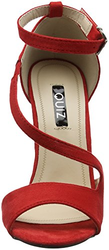 Quiz Women's Faux Suede Strap Sandals Open Toe Heels Red (Red 00) EcbVhKrE7z