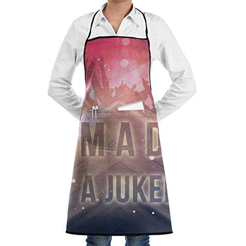 Agilitynoun DJ Not Jukebox Sewing Kitchen Bib Apron Center Kangaroo Pocket Adjustable Tie Home Waterproof
