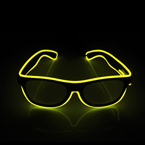 Light Up EL Wire Glasses Sound Active LED Glasses with Dark Lens for Costume Party Festival,Party Concert