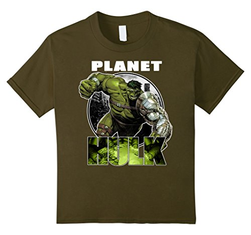 Kids Marvel Planet Hulk Metal Arm Smash Graphic T-Shirt 6 Olive (Hulk Smash Shirt)