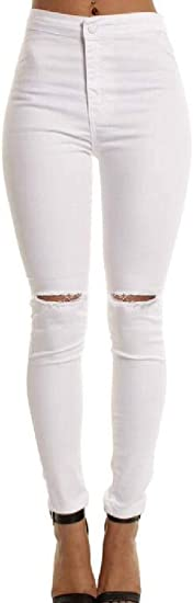 FRPE Womens High Waist Pencil Pants Stretch Skinny Knee Cut Holes Denim Jeans Pants