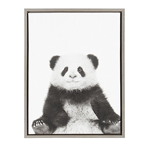 Kate and Laurel Sylvie Sitting Panda Black and White Portrait Framed Canvas Wall Art by Simon Te Tai, 18x24 -