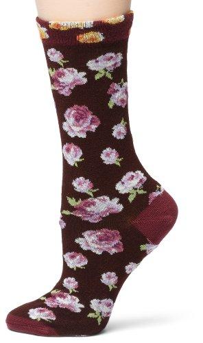 Ozone Women's Walking On Roses Socks,Bordeaux, One Size
