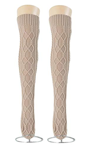 Women's Cable Knit Long Boot Socks Over Knee High Winter Leg Warmer Stocking (Beige-B)