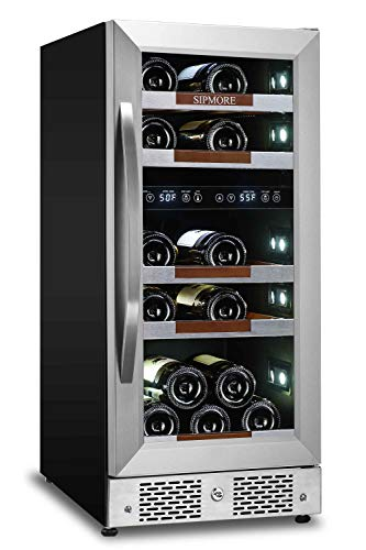 Sipmore Wine Refrigerator Cooler 15 inch Dual Zone 21 Multi Sized Bottle Built-in or Freestanding with Seamless Stainless Steel and Smart Temperature Memory System (Wine Fridge 21 Bottles)